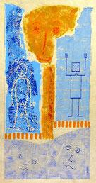 Doppelleben: Materialdruck, Zeichnung auf Bütten, 44 x 22 cm, 2014