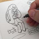 Illustration im Skizzenbuch zeigt einen Jungen der auf seinem Smartphone zockt