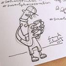 Illustration im Skizzenbuch zeigt einen Jungen der sein Smartphone checkt