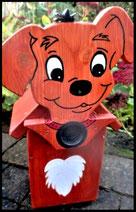 Houten nestkastjes - met toevoeging, Hond licht bruin
