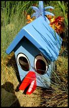 Houten nestkastjes - met toevoeging, Vogel, blauw, parkiet
