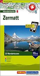 Zermatt Tourenwanderkarte mit 33 Wandertouren Reiseführer Zermatt