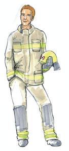 Feuerwehrmann in Dienstbekleidung