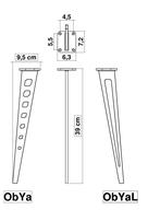 Dimensions pied de meuble ObYa H 390 mm