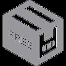 """Icone d'un colis portant la mention """"Free"""" sur un côté"""
