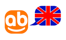 website's logo with an english flag.