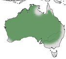 Karte zur Verbreitung des Gelbstirn-Schwatzvogels in Australien.