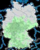 Karte zur Verbreitung des Grauspechts (Picus canus) in Deutschland.