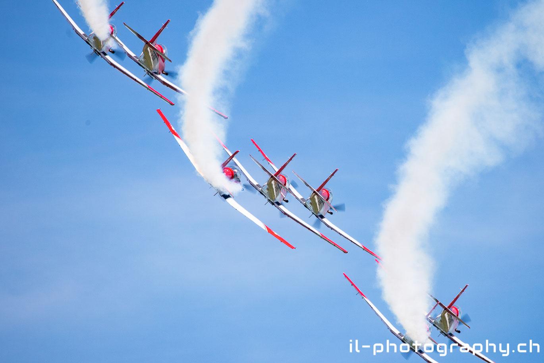 Pilatus PC-7 Team der Schweizer Luftwaffe in Grenchen.