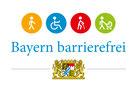 Fußgänger, Rollstuhlfahrer , Mensch mit Gehstock und Mensch mit Kinderwagen in bunten Kreisen, Text Bayern barrierefrei, Bayerisches Wappen