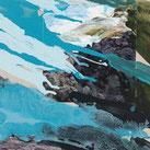 Malerei in Mischtechnik auf Leinwand, Wasser, Gischt, Gestein