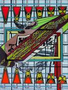 "CHRISTOPH SCHIRMER  ""Bench-Mark detectiv"",  2010 Acryl auf Leinwand 80 x 60cm"