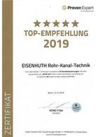 Eisenhuth Rohr-Kanal-Technik Proven Expert Top-Empfehlung 2019