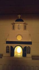 """Houten sfeerlicht """"huis Grieks kerk"""""""