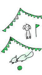 chat vert dessin vectoriel pate assurance chat chien animal animaux fête carnaval drapeau balle ballon