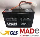 Batería LIVEN LV12-6 6V-12Ah AGM-STANDARD con conector