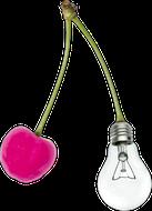 Bild einer Glübirne am Kirschenstängel
