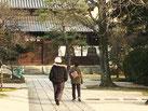 境内を歩く老夫婦