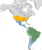Karte zur Verbreitung des Schmuckreihers (Egretta thula)