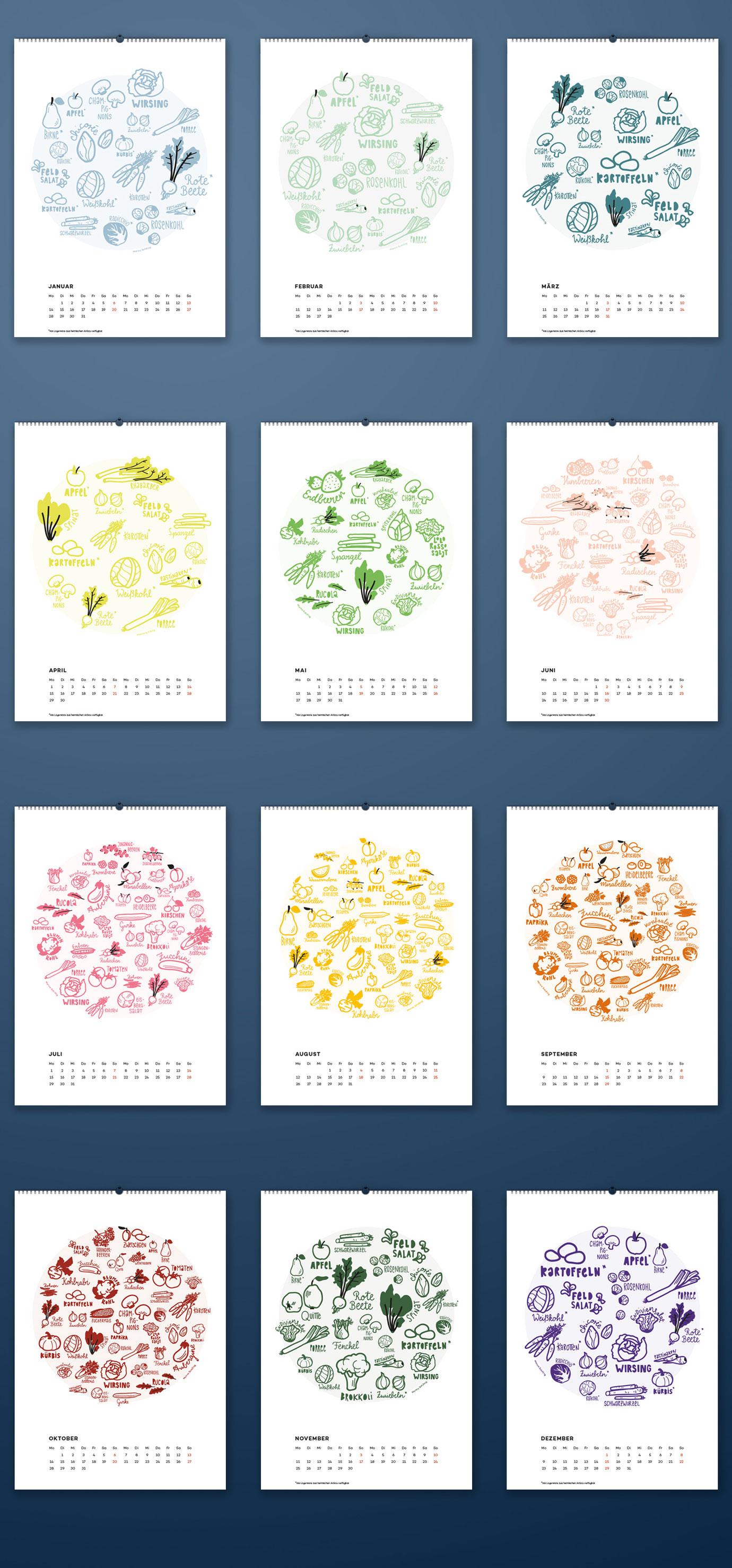 Übersicht alles Kalenderblätter des Saisonkalenders für Obst und Gemüse. Illustrierter Kalender im Doole / Sketchnote Stil. Marina Schilling.