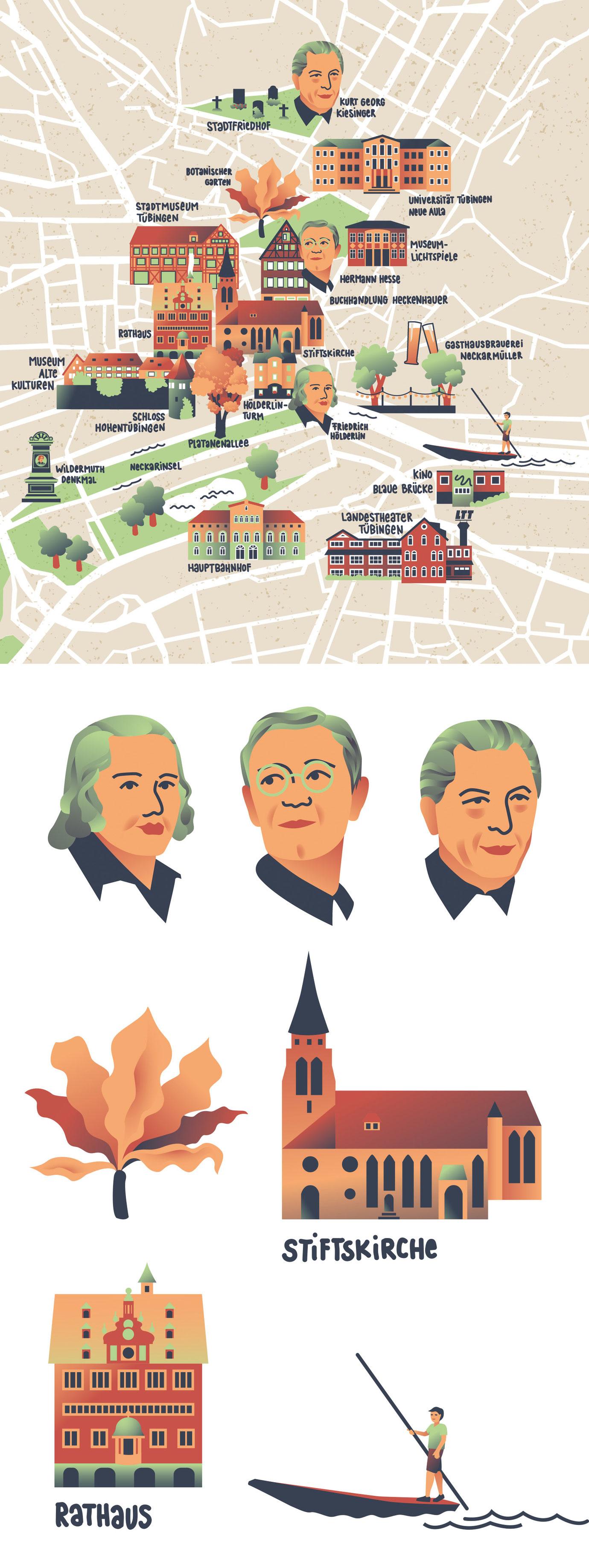 City Map Illustration von der Stadt Tübingen mit Sehenswürdigkeiten und Berühmten Persönlichkeiten. Marina Schilling.