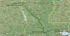 Strecke am 43. Tag: - 602 km (Microsoft Streets & Trips)