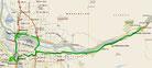Strecke am 30. Tag: - 180 km (Microsoft Streets & Trips)