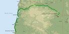 Strecke am 28. Tag: - 117 km (Microsoft Streets & Trips)
