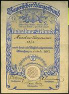 1872 Urkunde zur Aufnahme in den Bayerischen Sängerbund
