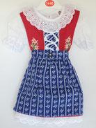 Kinder Trachtenkleid Rot-Mittelblau