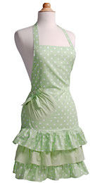 Damenschürze mintgrün mit Rüschen günstig kaufen