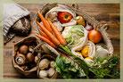 Einkaufsmöglichkeiten plastikfrei, Korb mit Gemüse