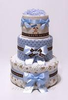 """Стильный торт из памперсов с пелёнками """"Весёлые собычки"""" подарок новорожденному мальчику"""