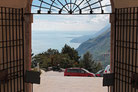 Blick vom Hof der Wallfahrtskirche Madonna di Monte Castello