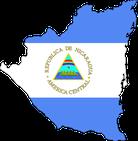 Geografische Karte kombiniert mit der Nationalflagge von Nicaragua
