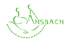 Stilisierter Rollstuhlfahrer und Stockmännchen in grün, Text Ansbach