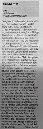 Rezension Fink Körner DUO - Jazzpodium