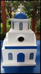 Nestkastje, koepel, Grieks kerkje, nestkastje in Griekse stijl, houten nestkastje, zelf gemaakt