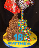 Gravity defying M&M and Maltesers Birthday cake