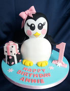 3D Penguin girls birthday cake