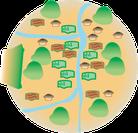 依田窪地域。武石川、依田川、大門川、美ヶ原からなる地形。