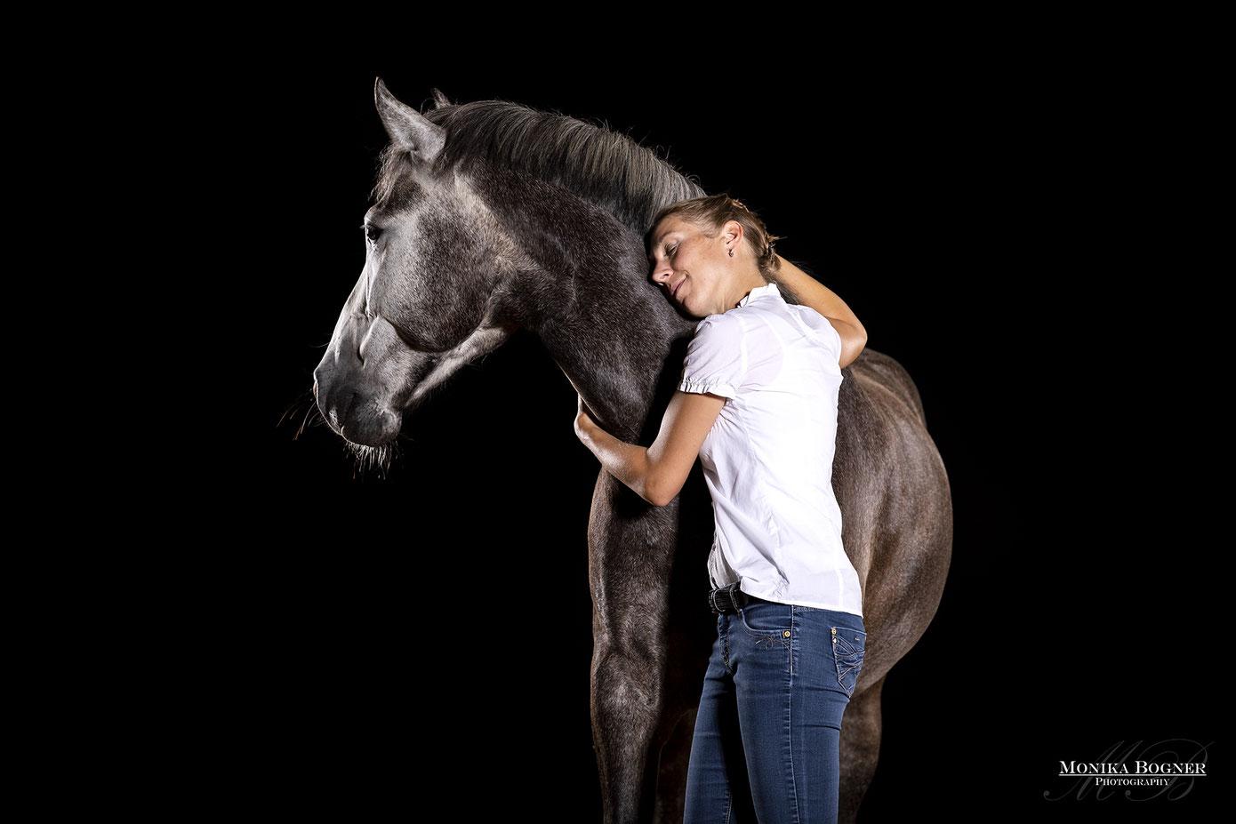 Pferde im Studio, Pferde vor schwarzem Hintergrund, Pferdefotografie, Pferd und Mensch