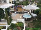 Garten, Gestaltung, Umbau, Terrasse verlängert, Pool, Sonnenschirm