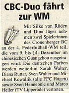 Cronenberger Woche Vorbericht vom 18.11.2005 WM