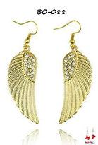 Boucles d'oreilles pendantes ailes d'ange dorées et strass