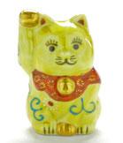 九谷焼『招き猫』黄色唐草