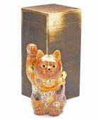 九谷焼『招き猫』4号 デコ盛 焼き塗装木箱入り