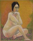 裸婦と蓮華草 アクリル15号