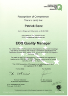 Zertifikat EOQ Quality Manager