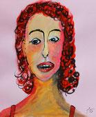 Frauengesicht, Tusche und Gouache auf rosa Briefumschlag